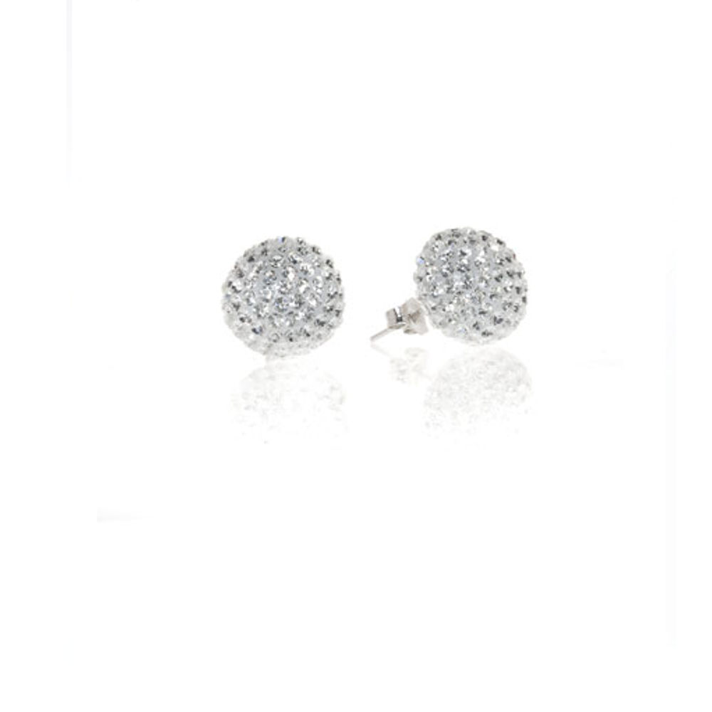 Clear Crystal Ball Stud Earrings