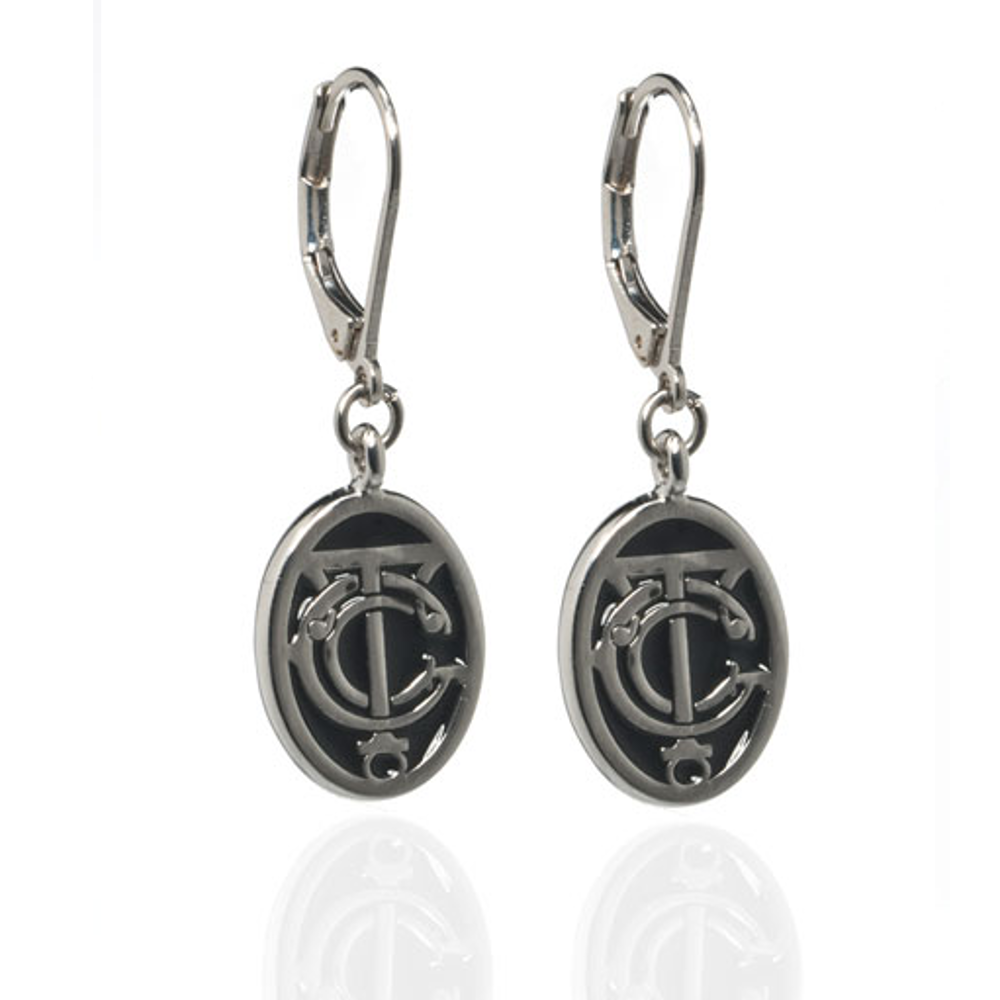 Grand Central Black Silvertone Drop Earrings