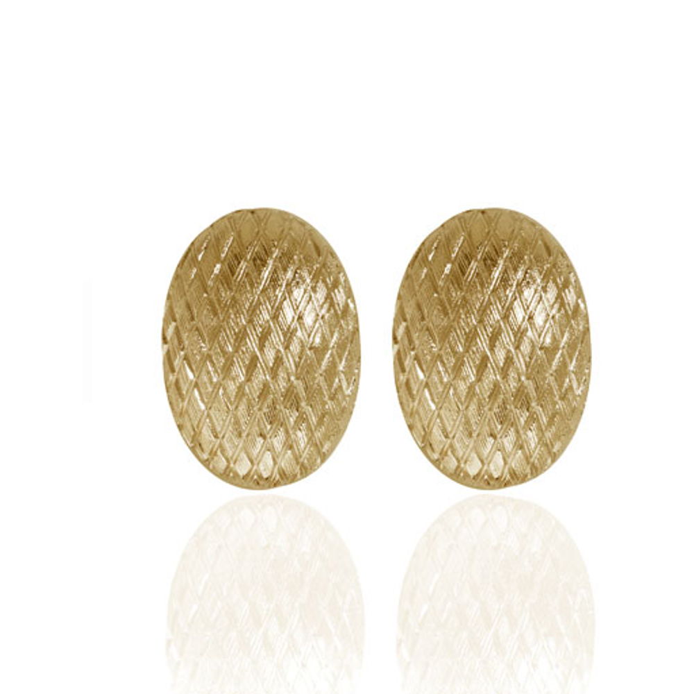 Snakeskin Gold Button Earrings