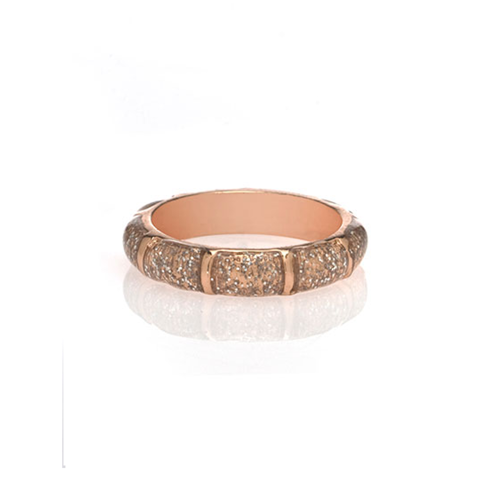 Rose Gold Stardust Segmented Bamboo Ring