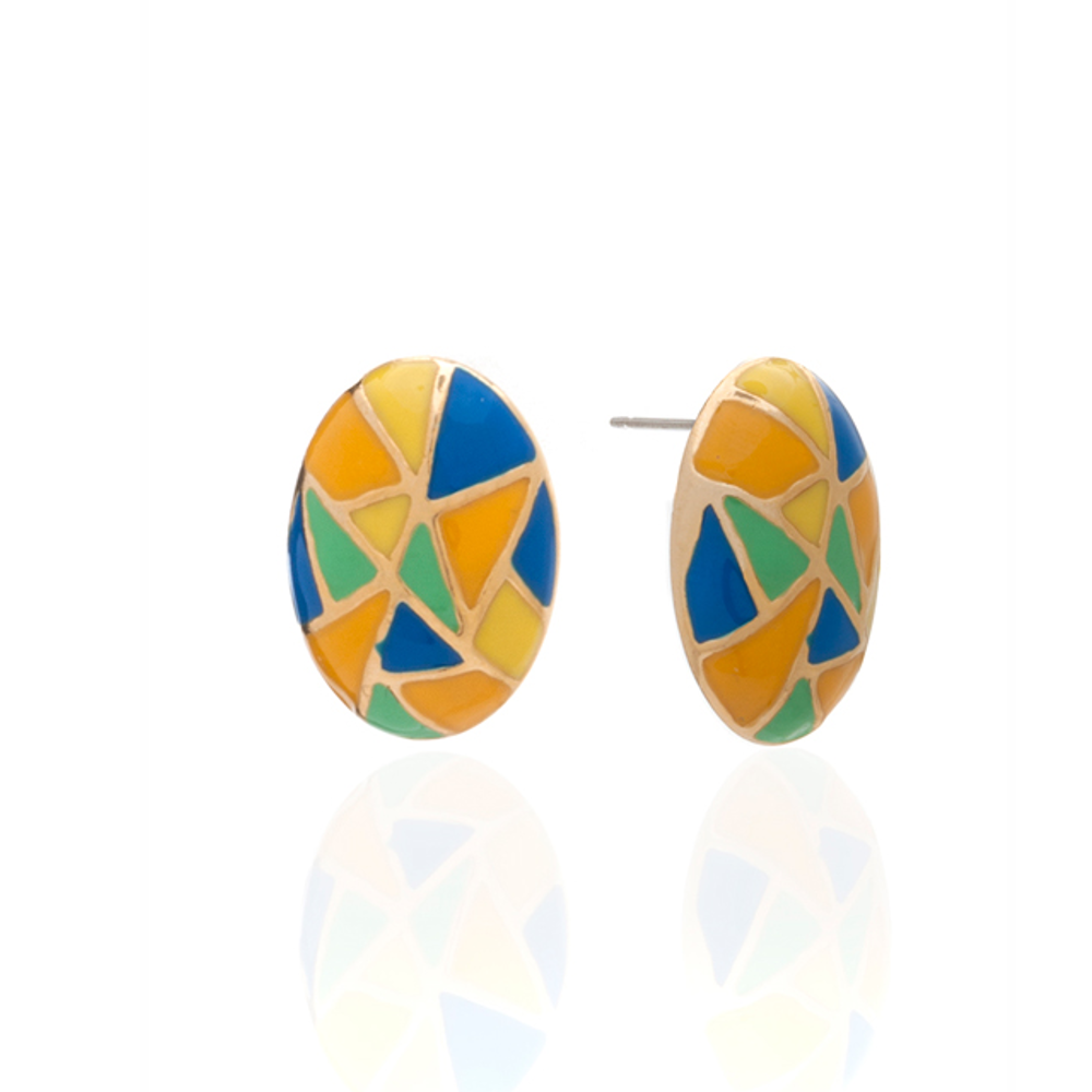 Multi Color Yellow Blue Oval Earrings