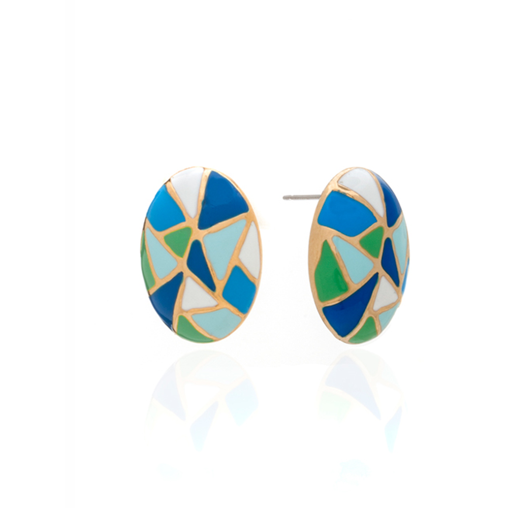Multi Color Blue green Oval Earrings