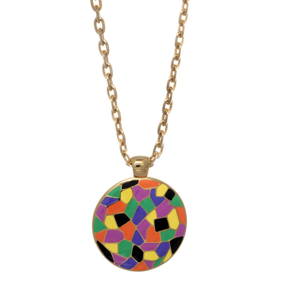 Italian Riviera Enameled Disc Pendant Necklace