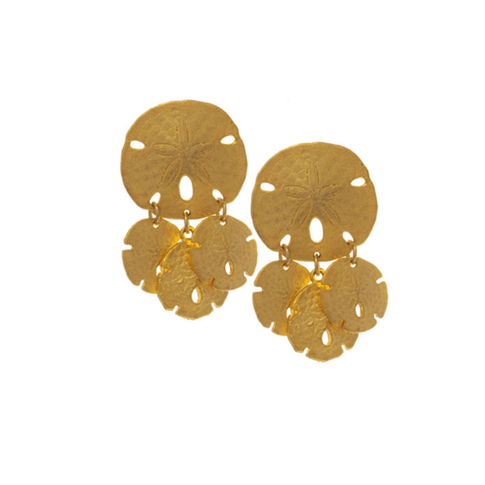 Sand Dollar Disc With Triple Disc Drop Earrings