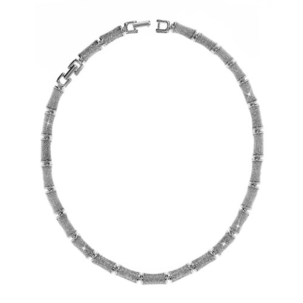 Silver Stardust Segmented Bamboo Necklace