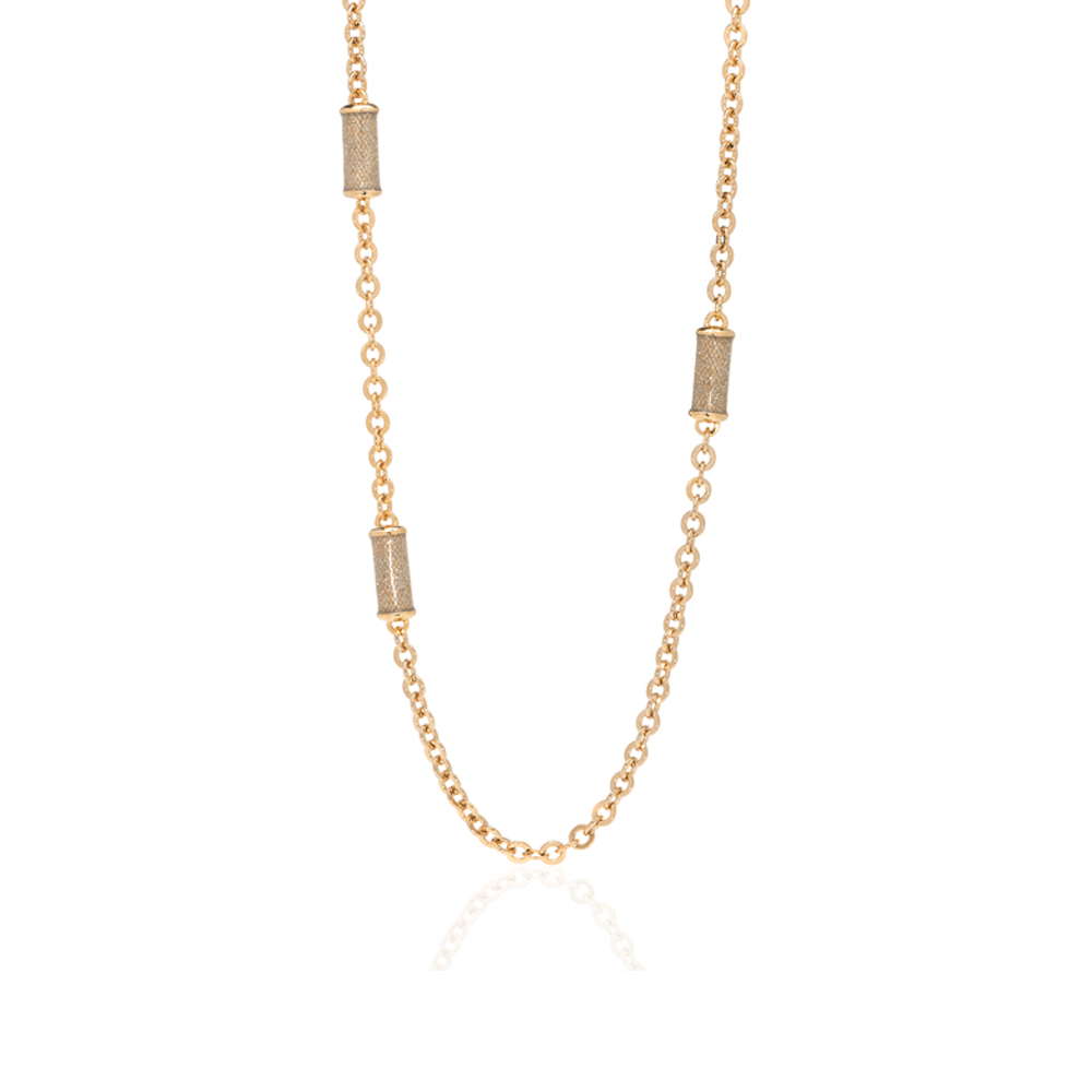 Snakeskin Goldtone Stardust Station Necklace