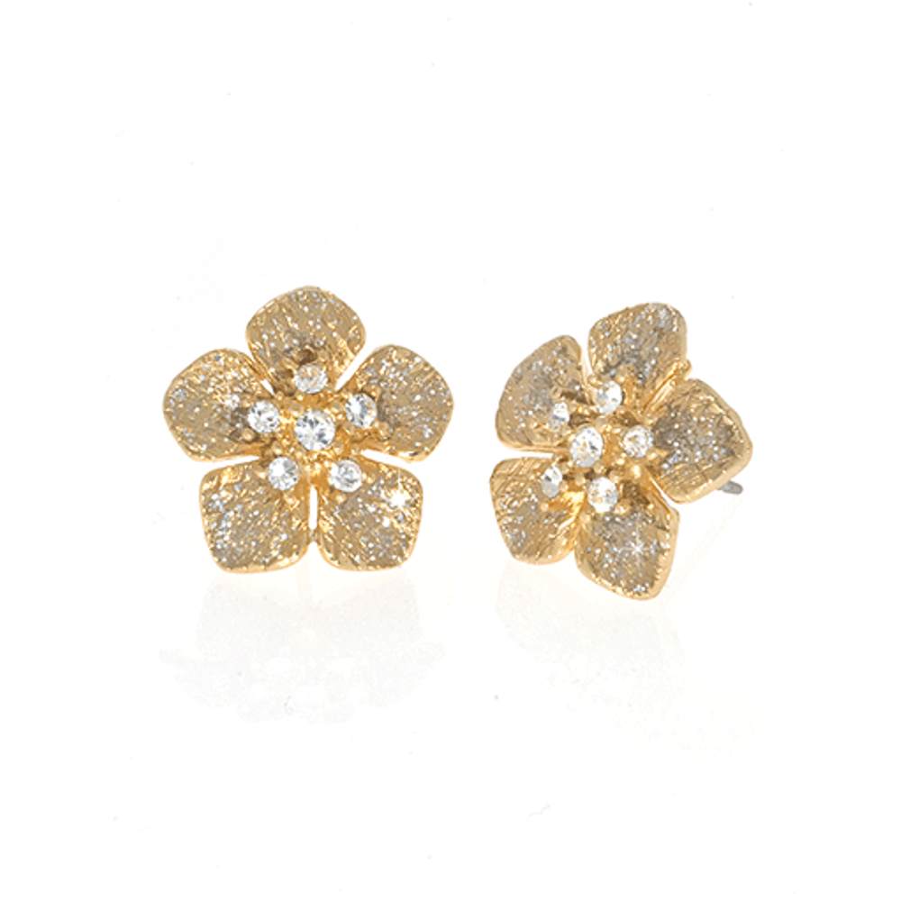 Stardust Gold Small Flower Earrings