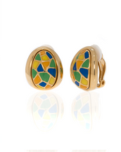 Goldtone Multi Color Yellow Blue Earrings