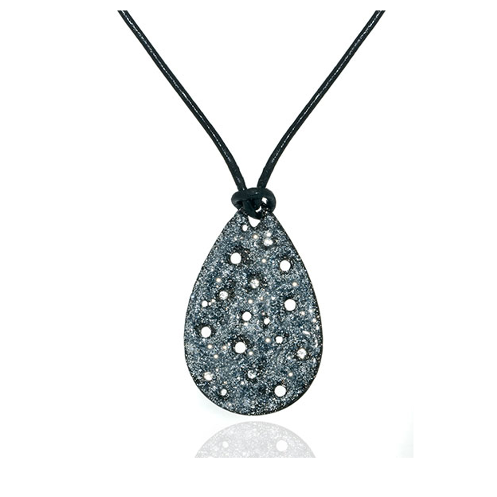 Stardust Hematite & Crystal Radiance Black Leather Necklace