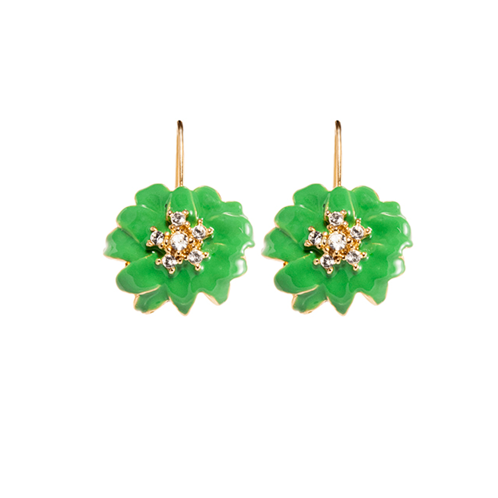 Green Flower Euro-Wire Earring