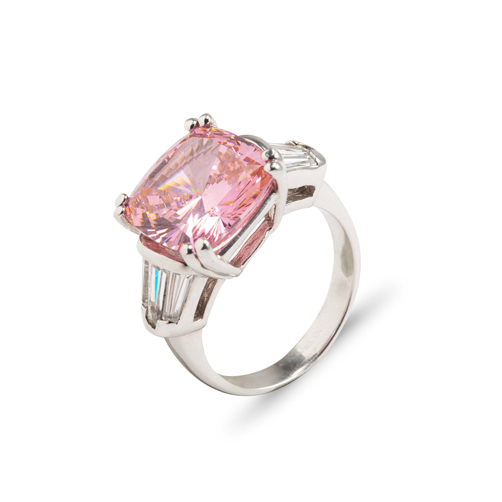 14k White Gold Pink Cushion Cut with Baguettes Ring (size 6)