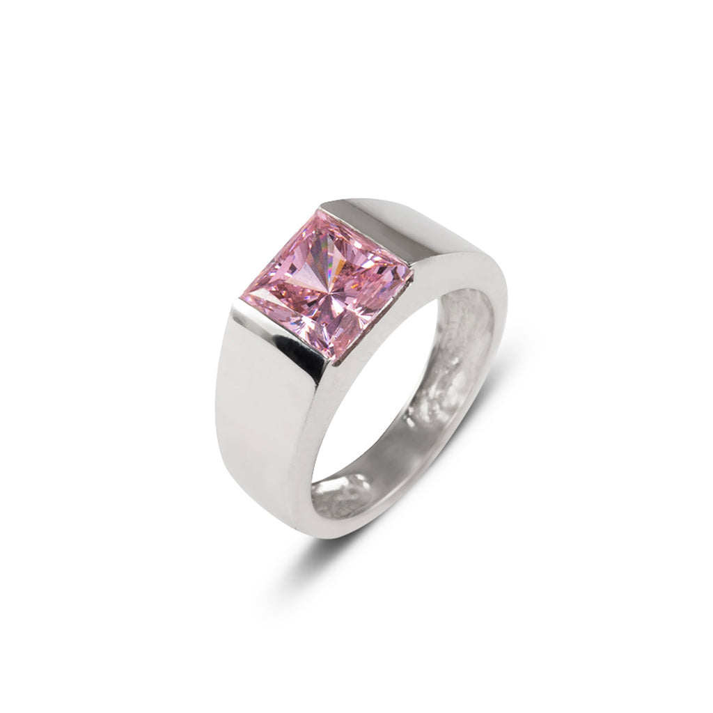 14k White Gold Pink Princess Cut Ring
