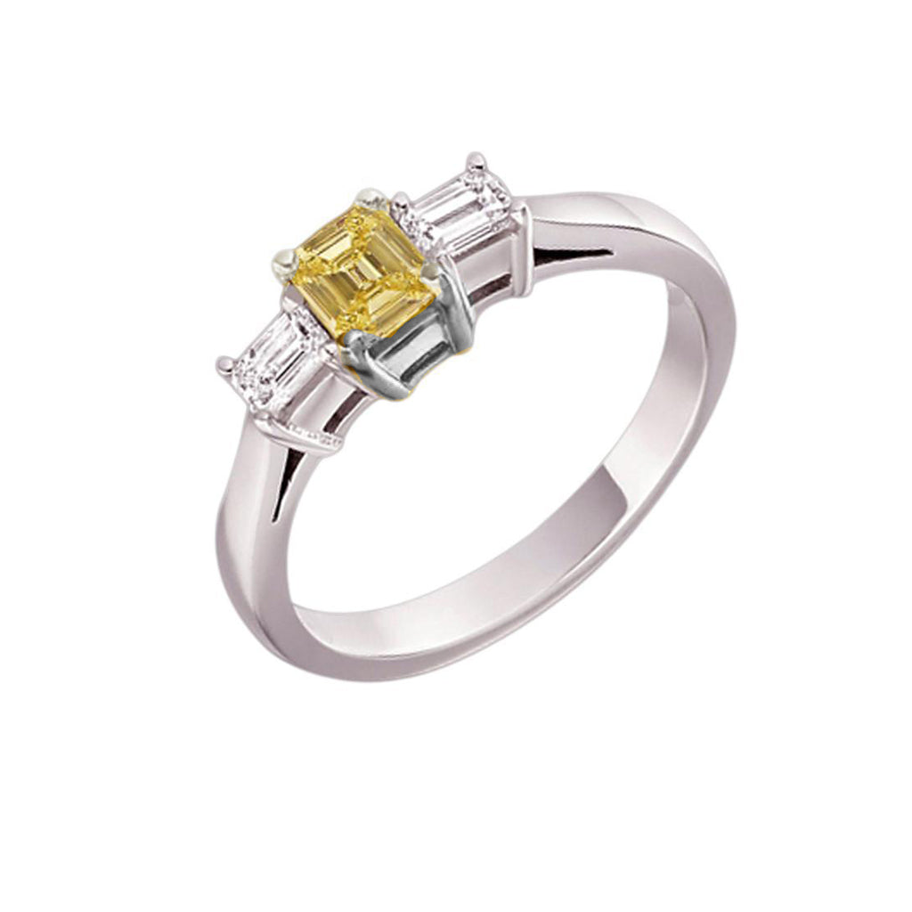 14k White Gold 3 Stone Emerald Cut CZ With Canary Center Stone