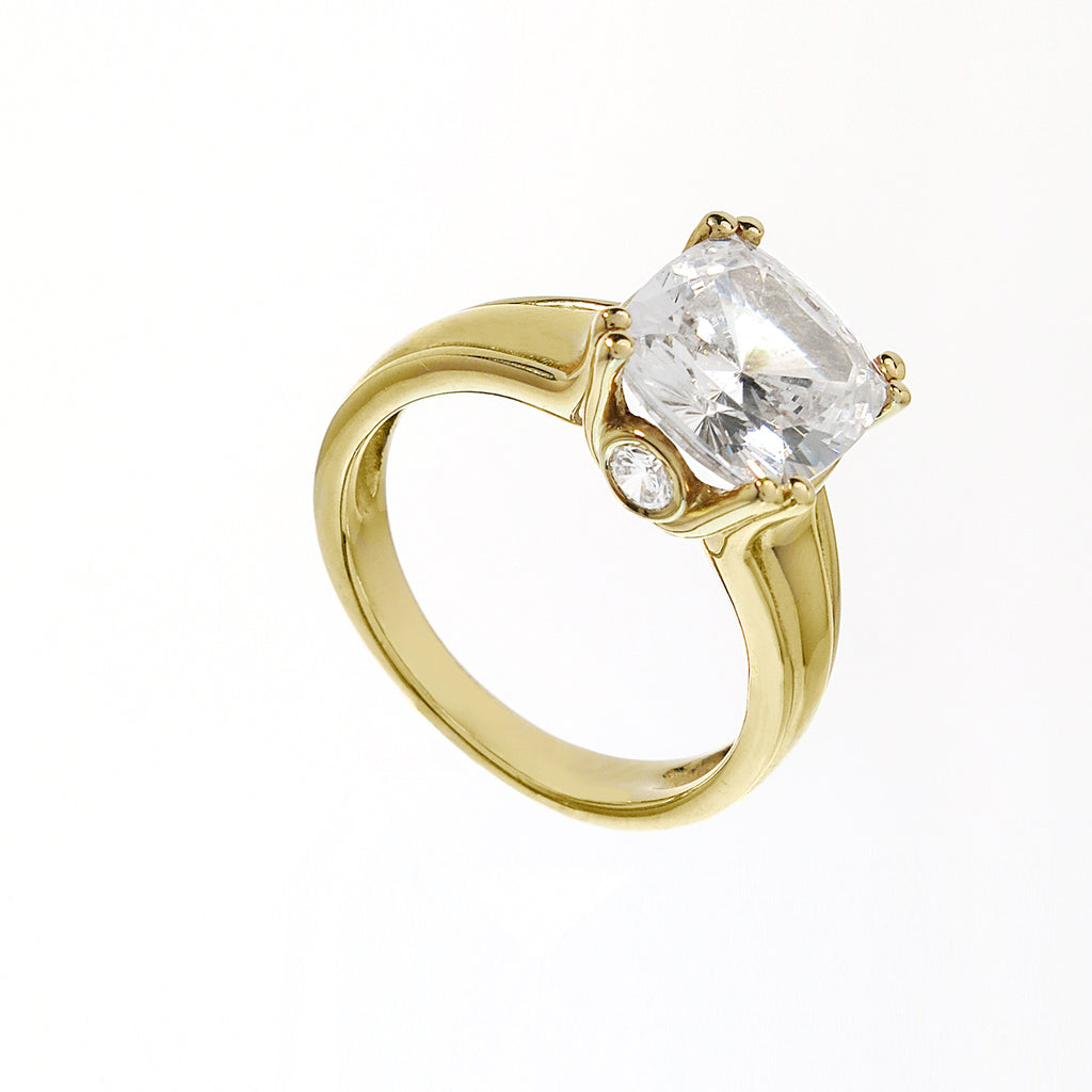14k Gold 3.5 Carat Cushion Cut CZ Ring