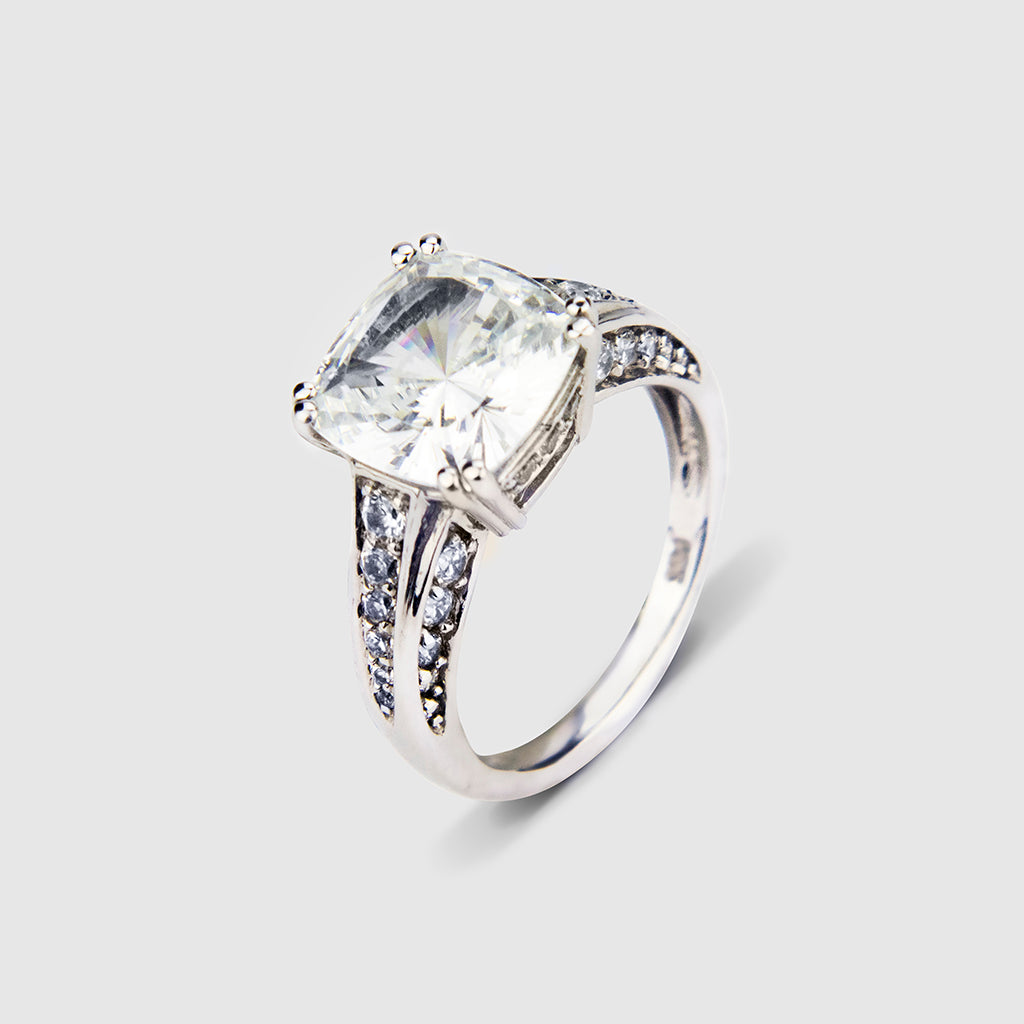 14K White Gold Cushion Cut with CZ Round 5.25ct