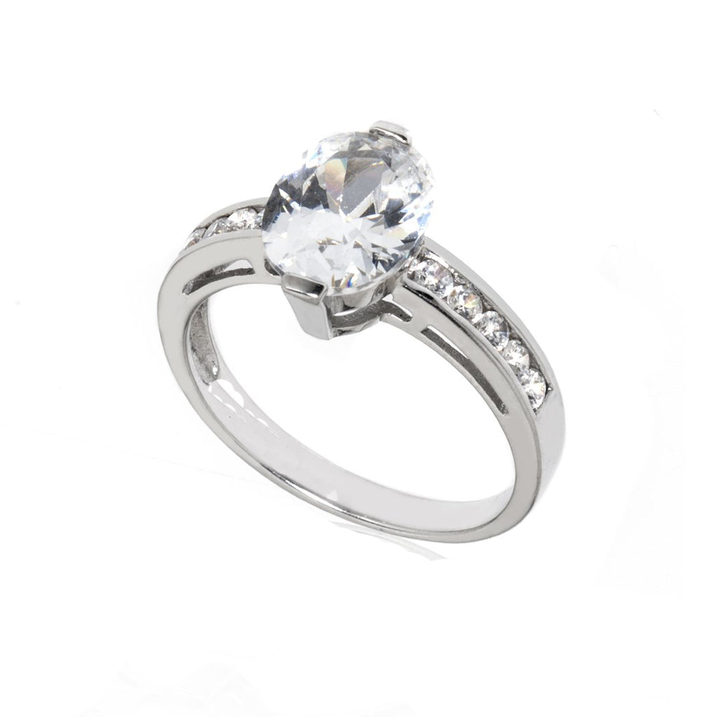 14k White Gold Oval CZ With Channel Settings