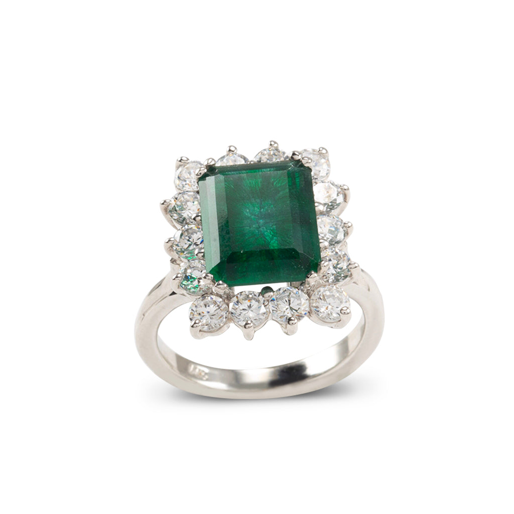 14k White Gold CZ Emerald Cut (size 7)