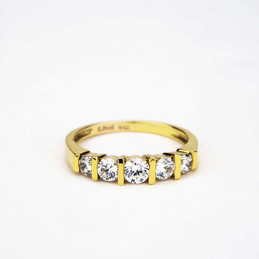 14K Yellow Gold 5 Stone Round Eternity band 0.70 ct