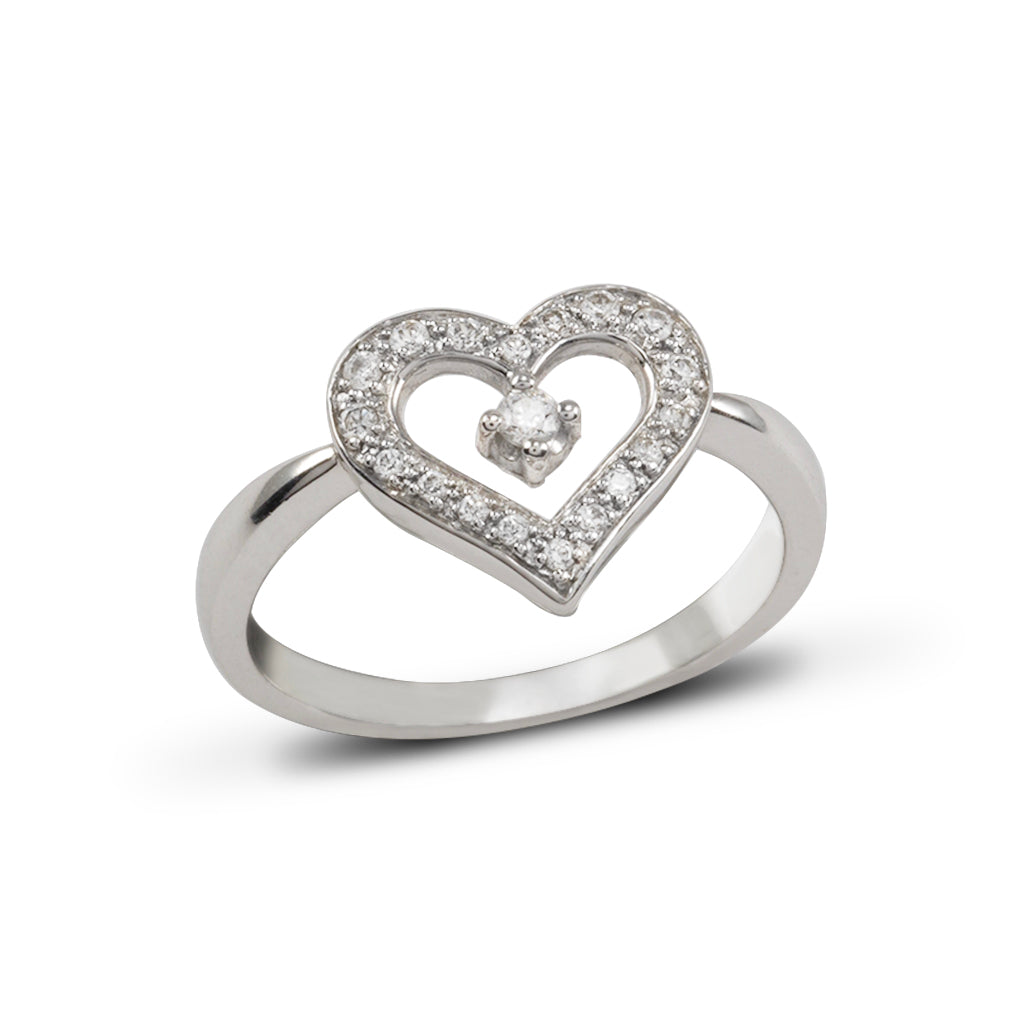 14k White Gold CZ Heart Ring (Size 7)
