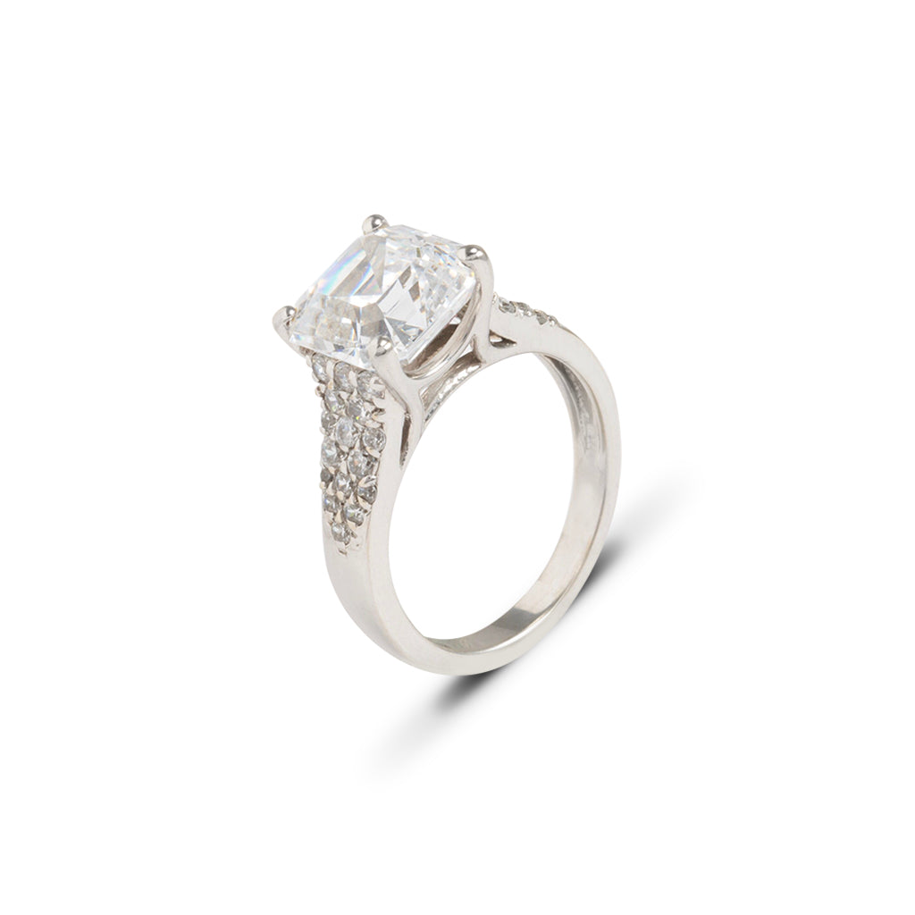 14k White Gold CZ Asscher Cut Ring (size 6)