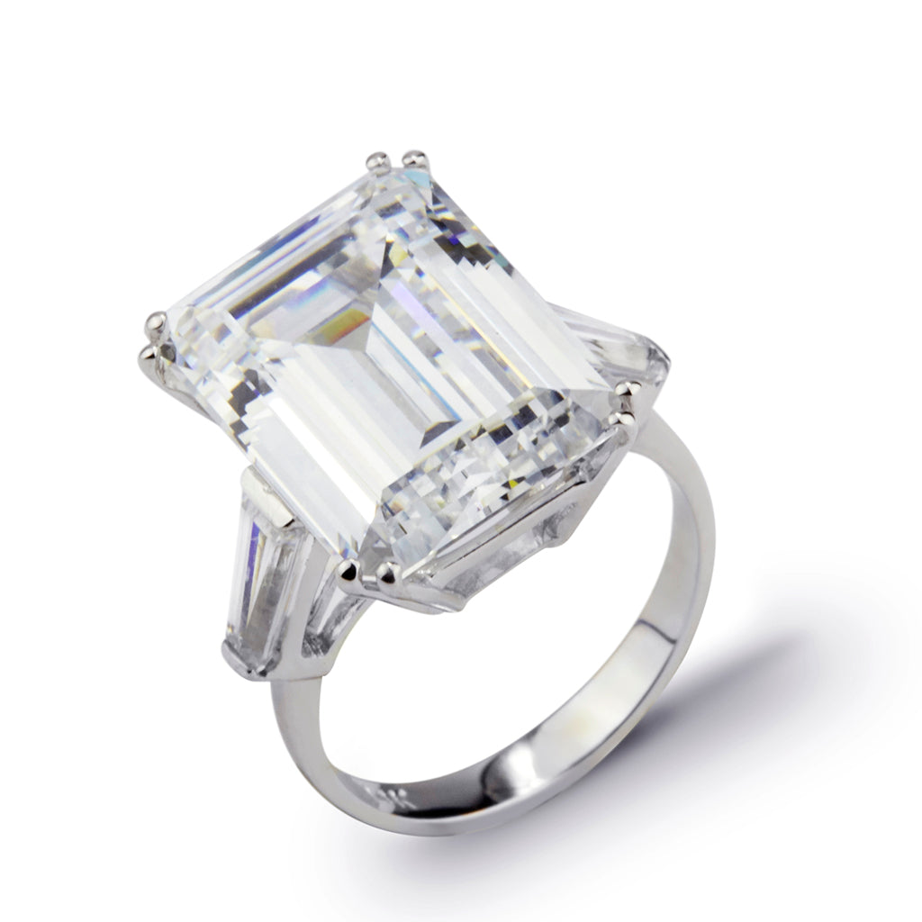 15.7 CT 14K White Gold Cubic Zirconia Emerald Cut Ring