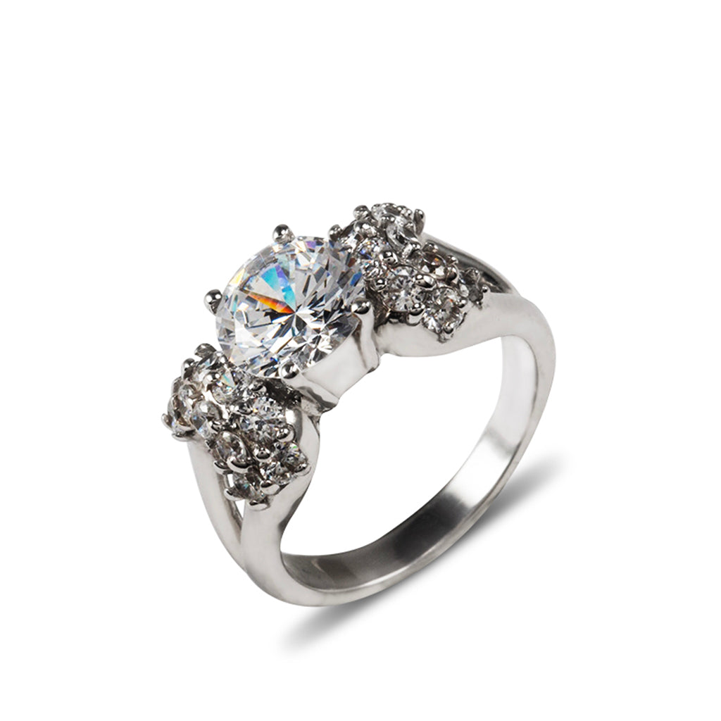 14k White Gold Round Cut with CZ Rounds Ring