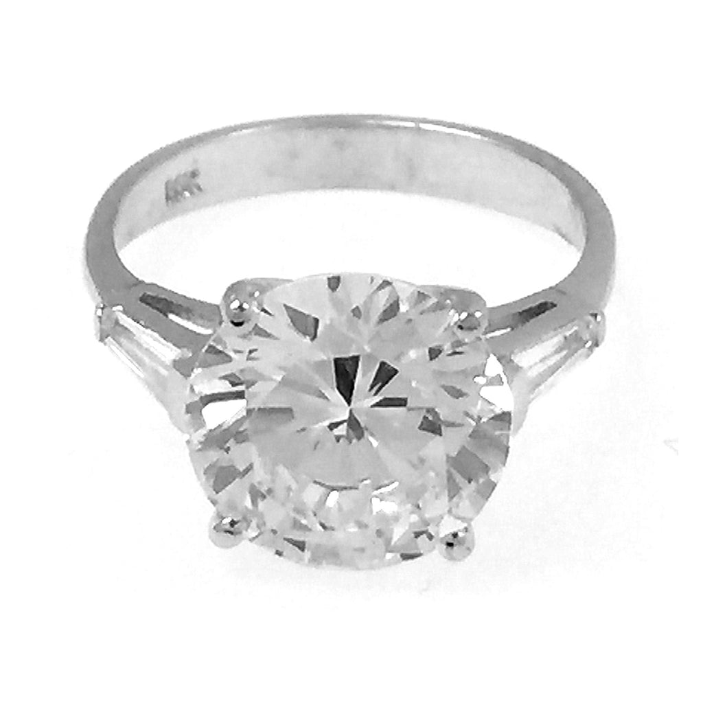 14K White Gold Round Cut Ring 6.5CT (Size 7)