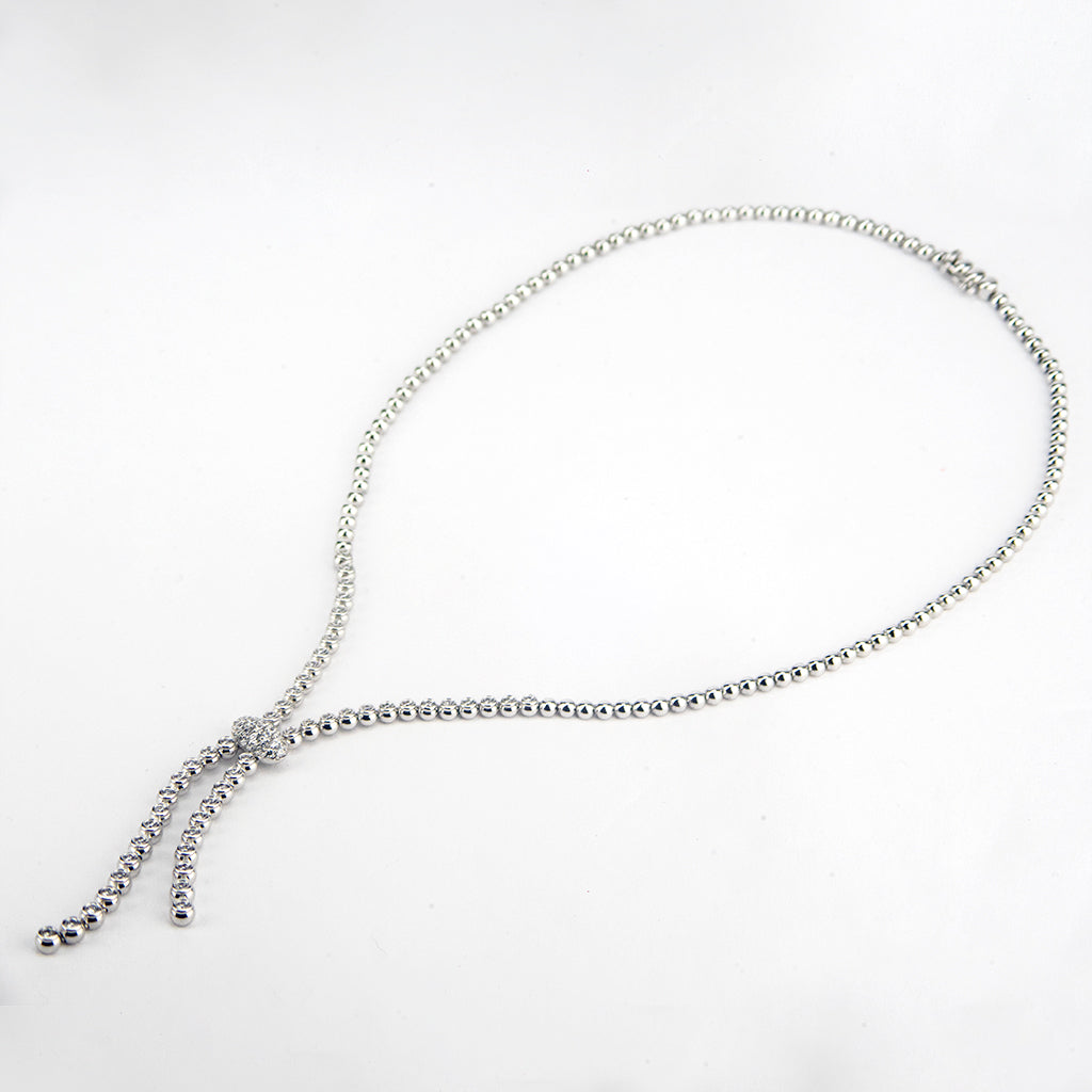 14K White Gold Barrel Set Lariat with Pave Ball Necklace