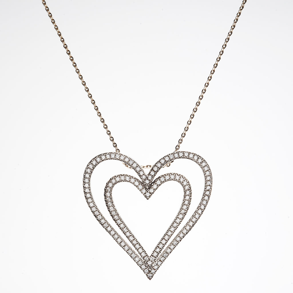 14k White Gold CZ Heart Pendant Necklace