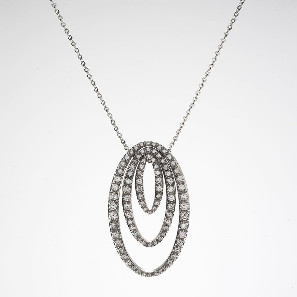 14k White Gold CZ Oval Pendant Necklaces