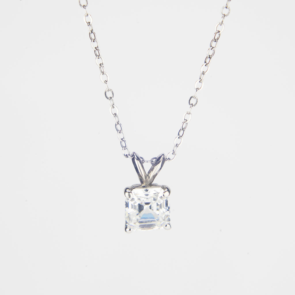 1 CT 14K White Gold Asscher Cut Necklace