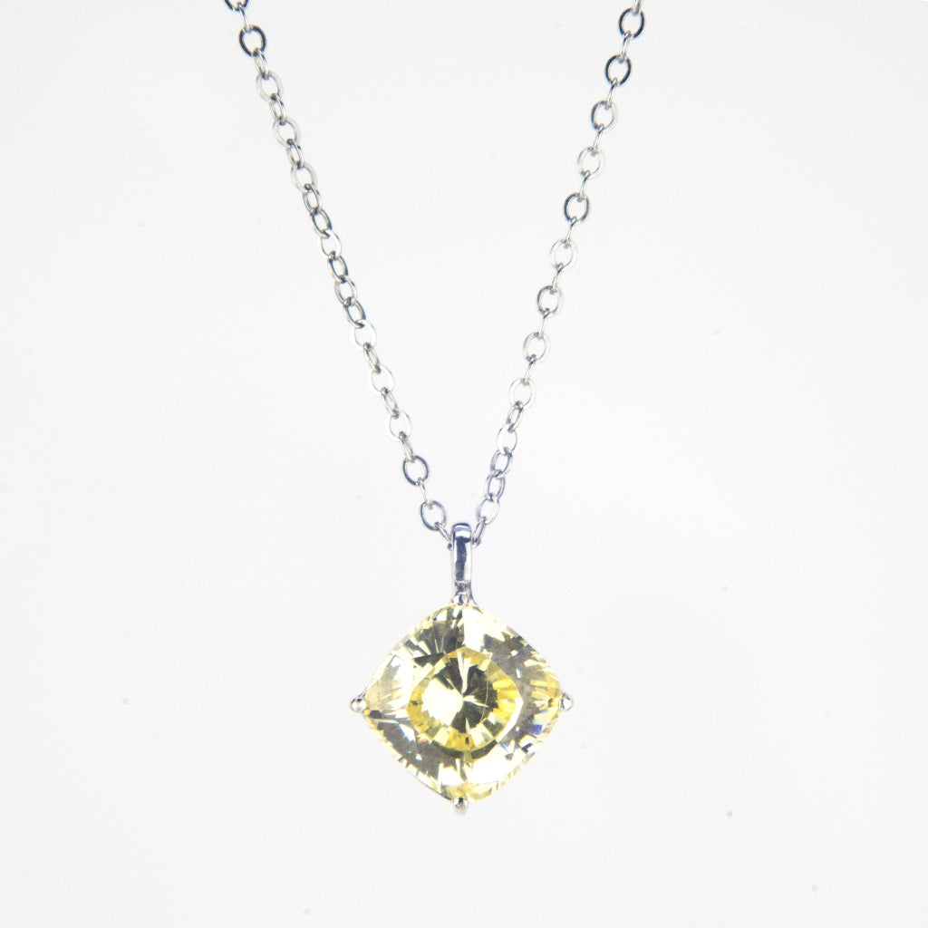 14K White Gold Yellow Canary Crown Cut 2.00 ct Necklace