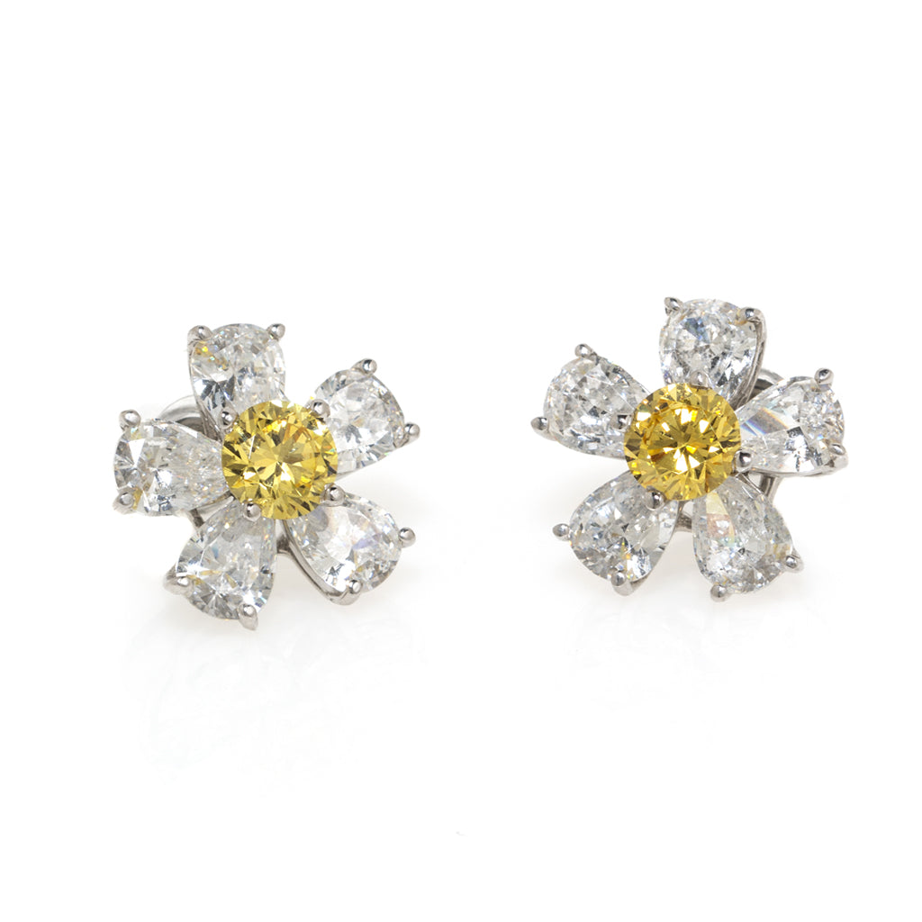 14k White Gold Flower Earrings With Canary Center