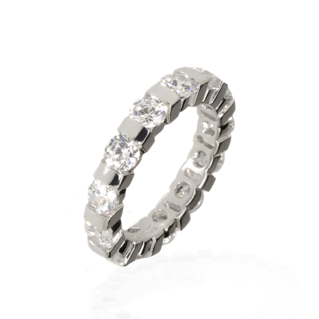 NEW Sterling Silver 5.4 Carat CZ Eternity Band