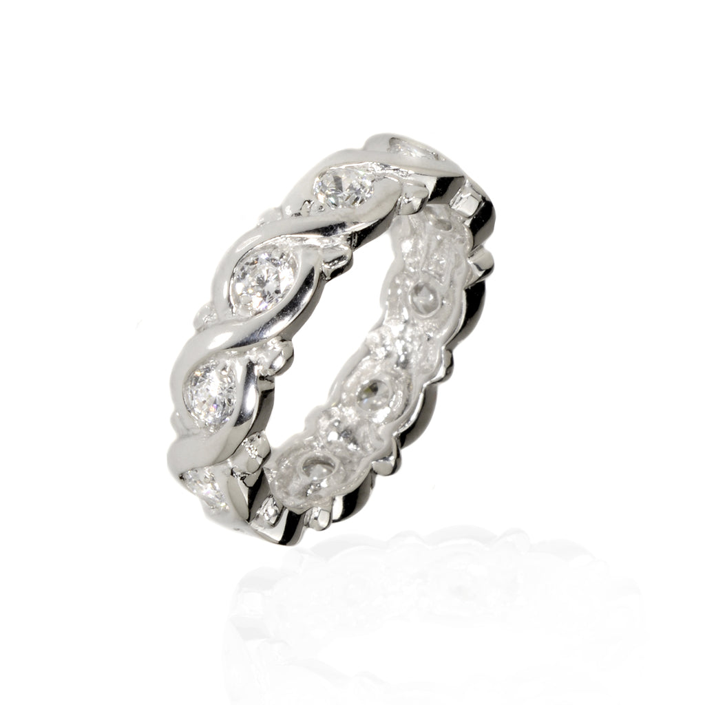 NEW Sterling Silver 1.7 Carat CZ Eternity Band
