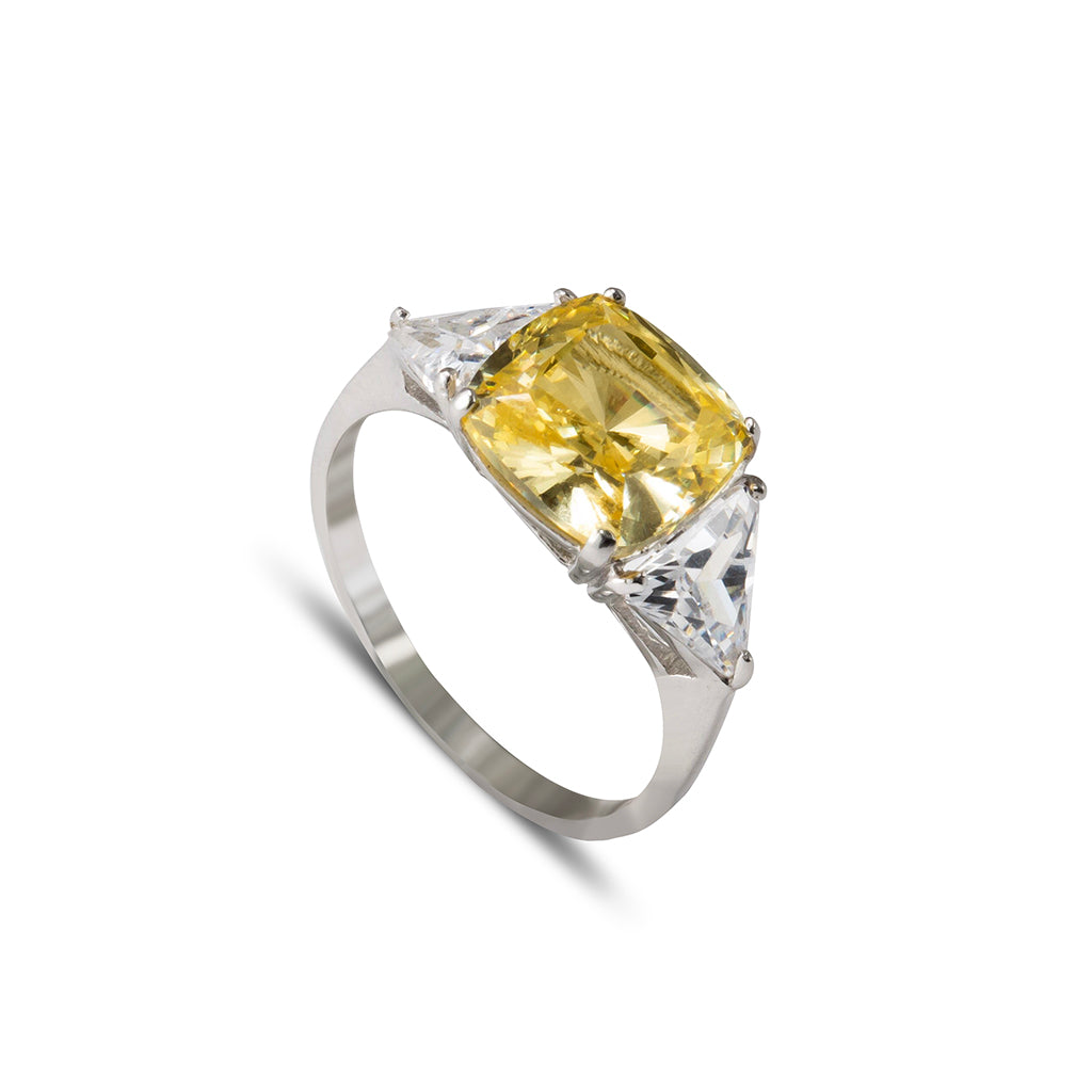 Sterling Silver Cubic Zirconia Canary Yellow Cushion Cut Ring 5.10 Carat Weight