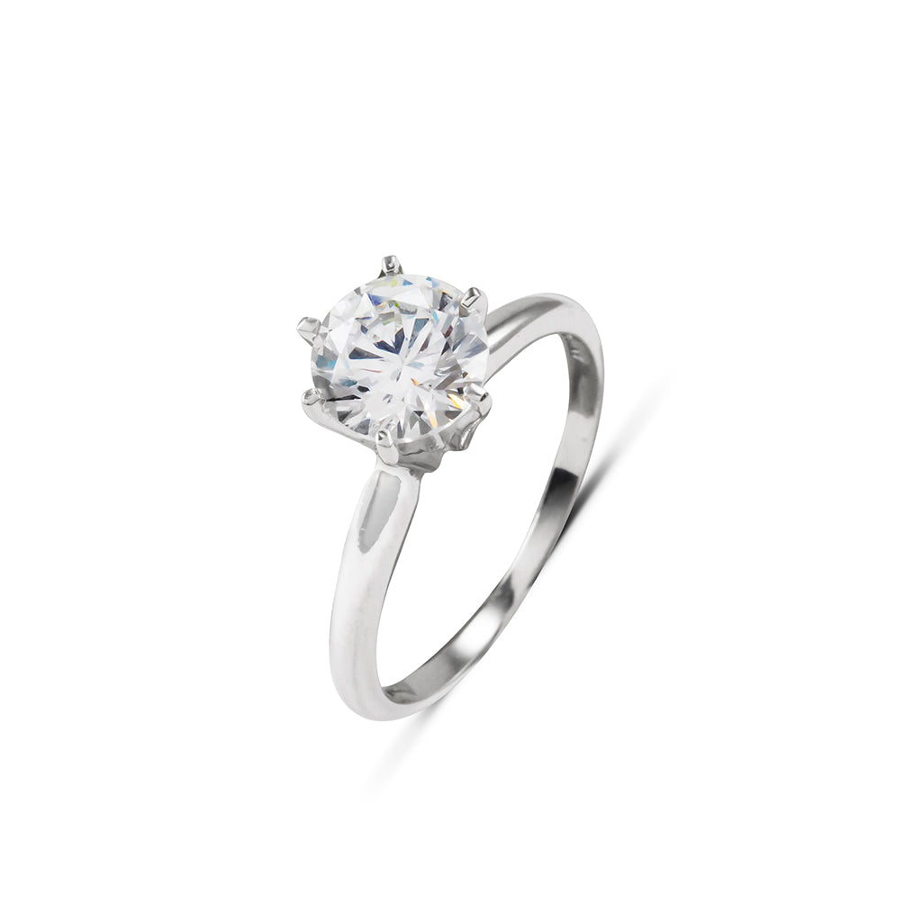 Sterling Silver Cubic Zirconia  Round Cut Ring 1.00 Carat Weight