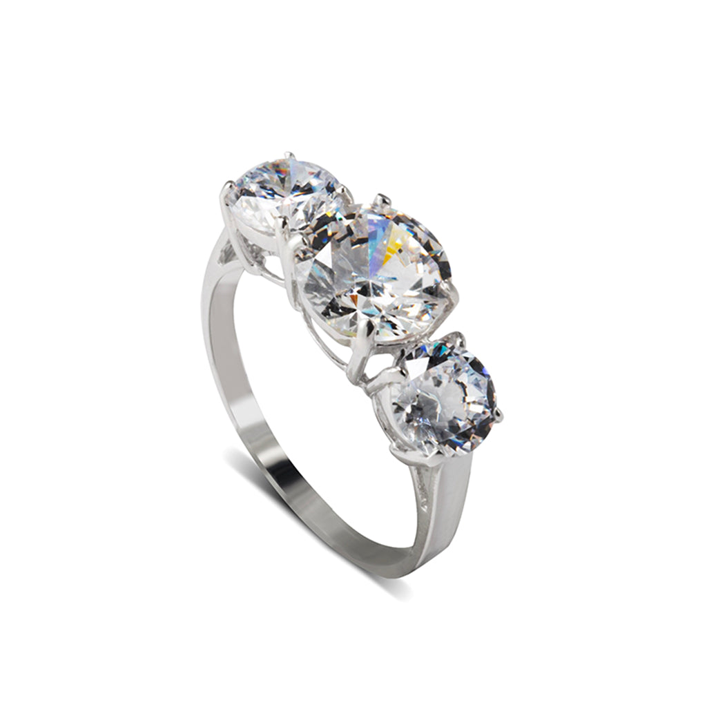 Sterling Silver Cubic Zirconia 3 Stone Round Cut Ring