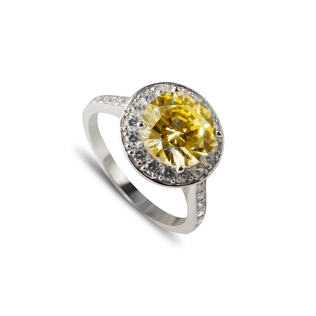 Sterling Silver Cubic Zirconia Canary Yellow Round Cut Ring