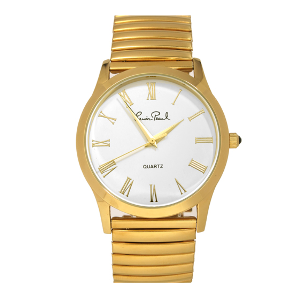 San Sebastian White Goldtone Stretch Bracelet Watch