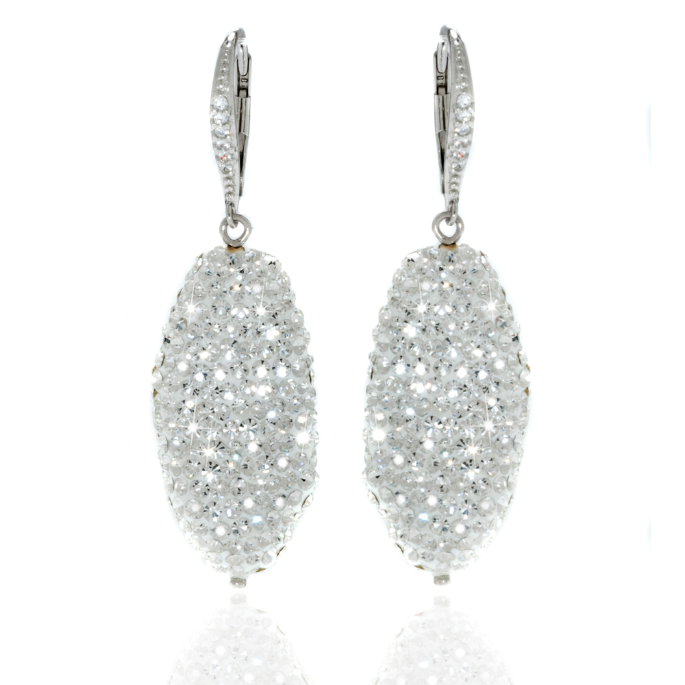 Sterling Silver Clear Crystal Pave Baroque Earrings