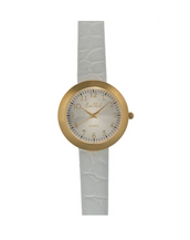 Gold Tone White Leather Strap Watch