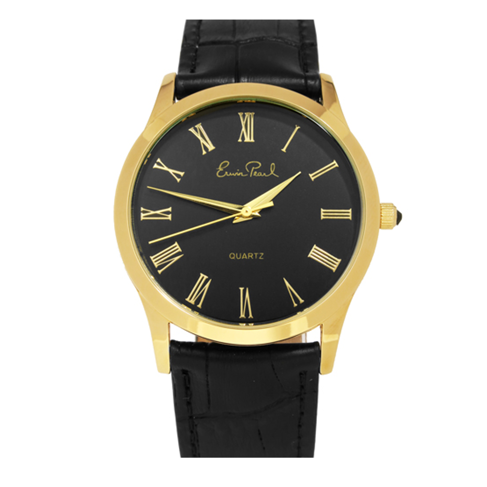 Goldtone Black Leather Strap Watch