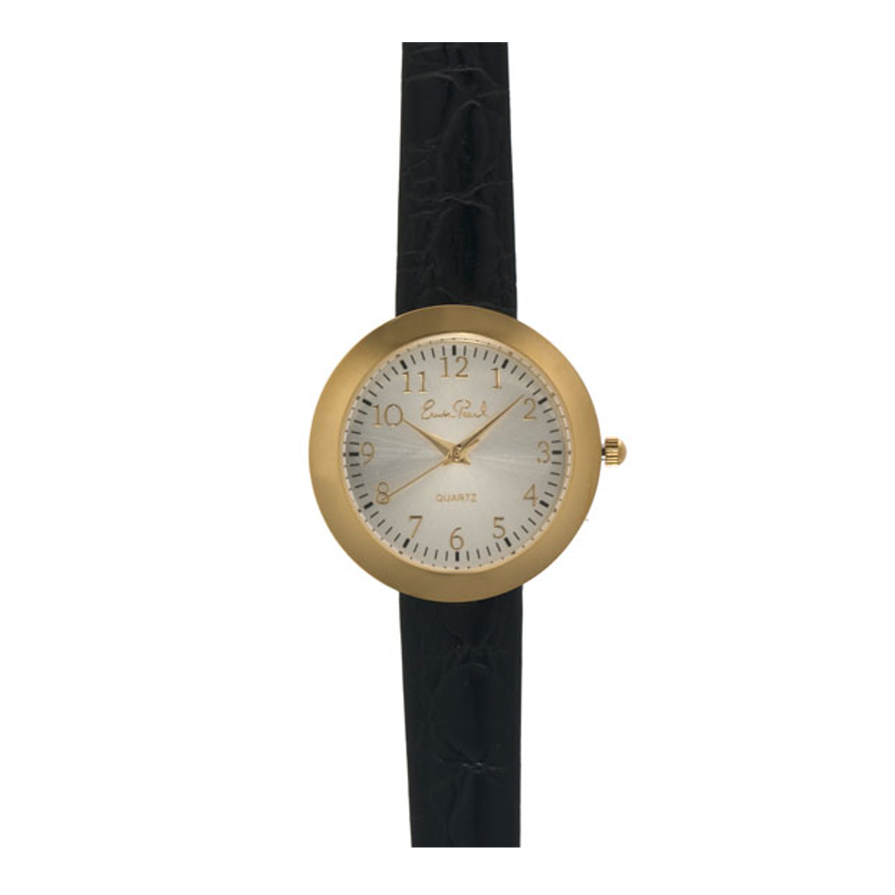 Gold Tone Black Leather Strap Watch