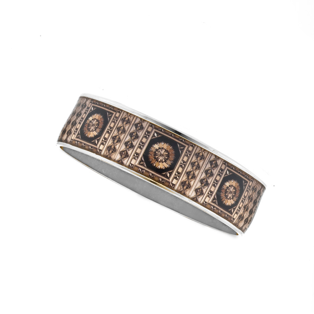 "Silvertone Russian Marquetry  3/4"" Small Bracelet"