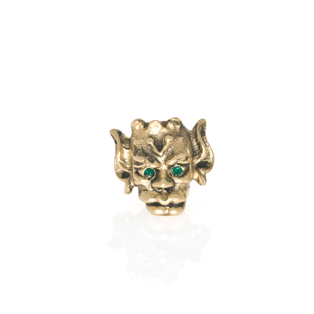 Antique Goldtone Goblin with Emerald Eyes