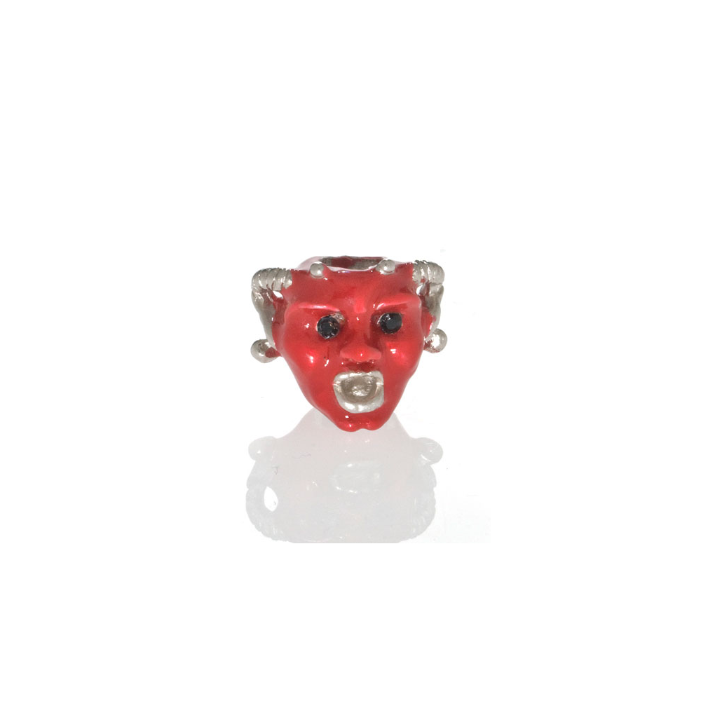 Red Goldtone Horned Gargoyle Charm