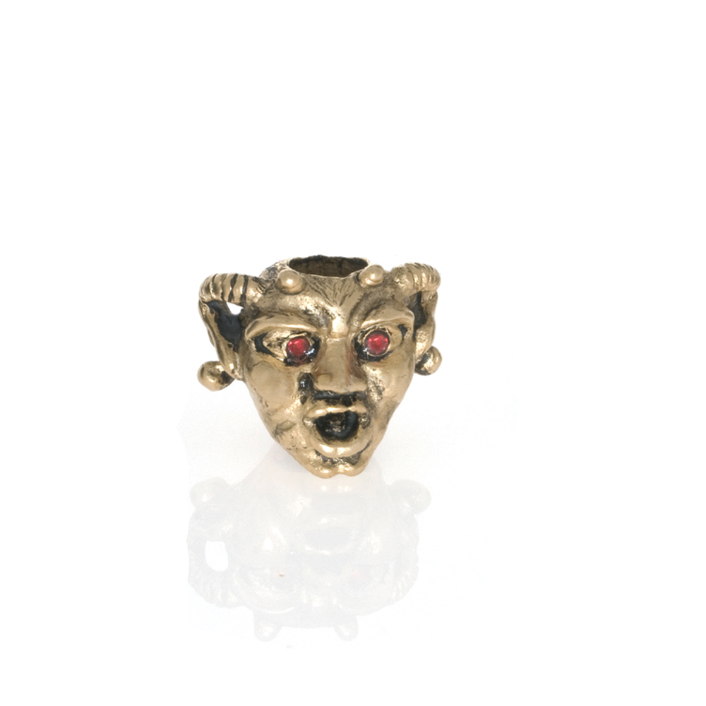 Antique Goldtone Horned Gargoyle with Siam Eyes Charm