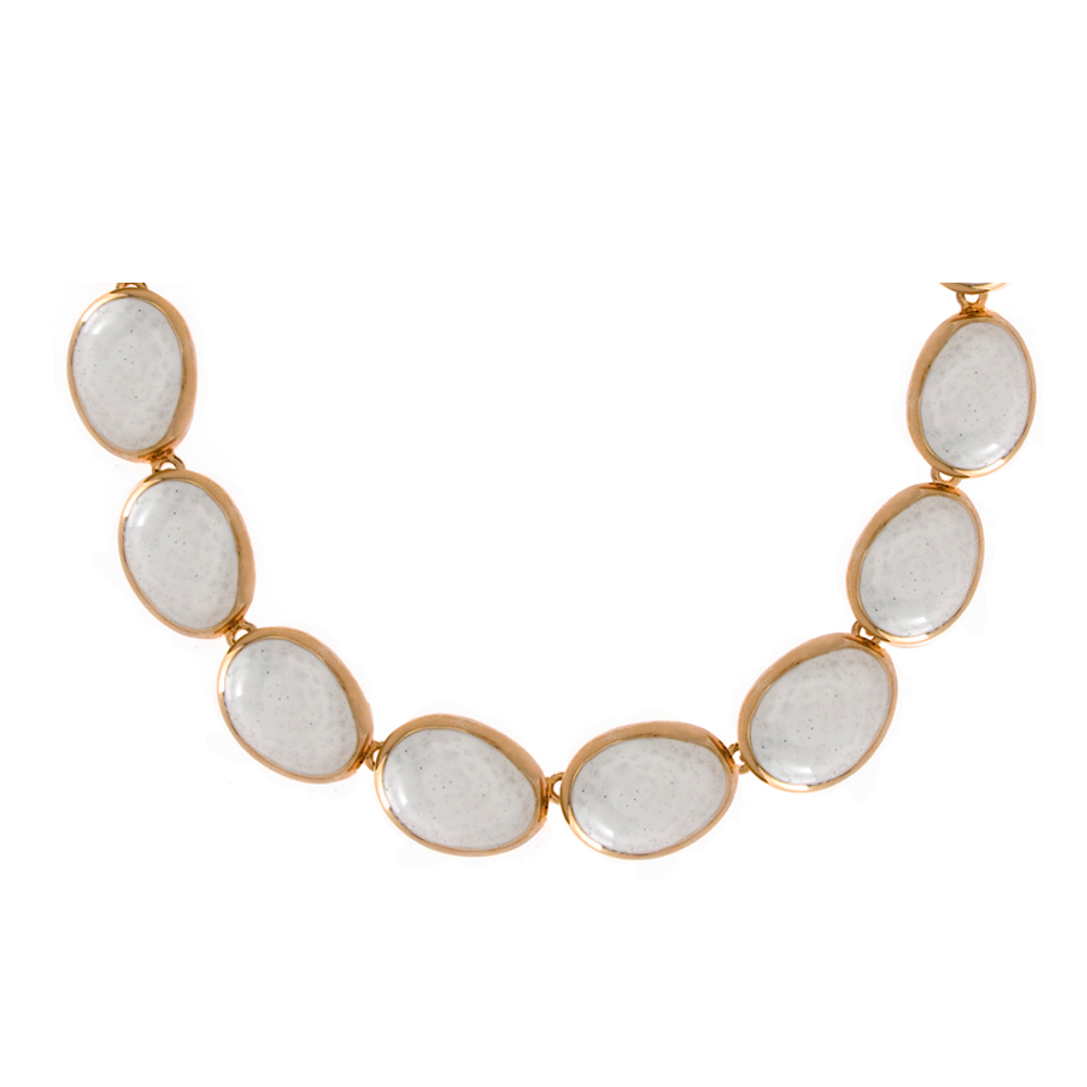 Goldtone White Stardust Sharkskin Necklace