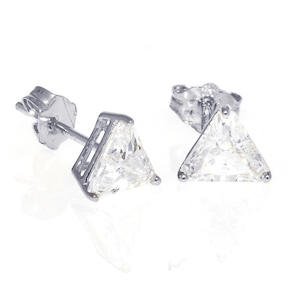 Sterling Silver CZ Triangle Stud Earrings